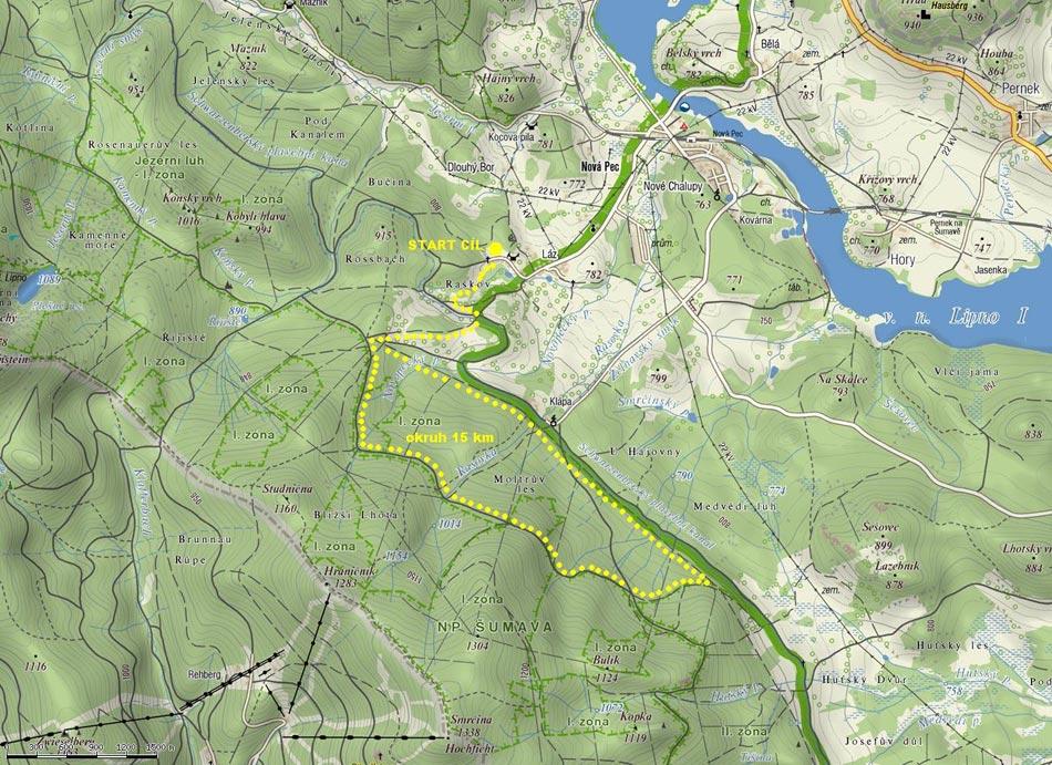 Orientační mapa závodu 15 km