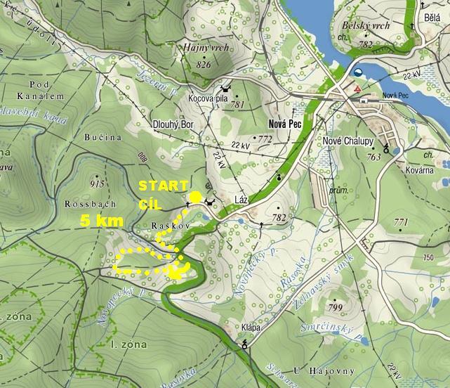 Orientační mapa závodu 5 km